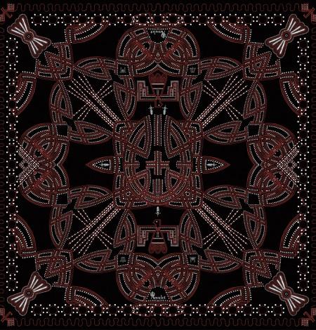 Scarf Messenger Black Hawk amulet print