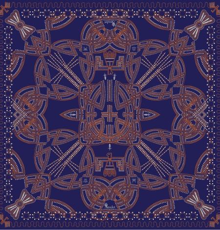 Foulard Messenger Blue Couture amulet print
