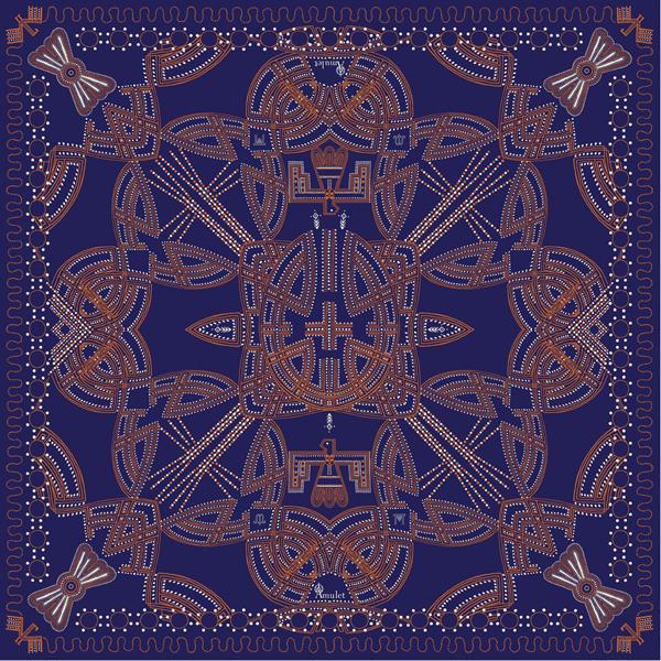 Eclairage foulard Messenger Blue Couture