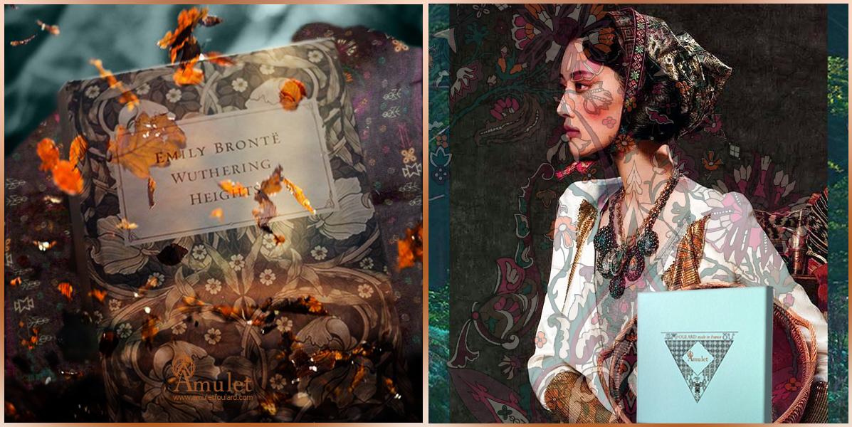 amulet-foulard-impression-automne-etole-akna-atmosphere-stole-akna-autumn-original-design-laine-et-soie-dotted-inspiration-art-nouveau-bordure-style-abondance-symbole-mood-coffret-packaging