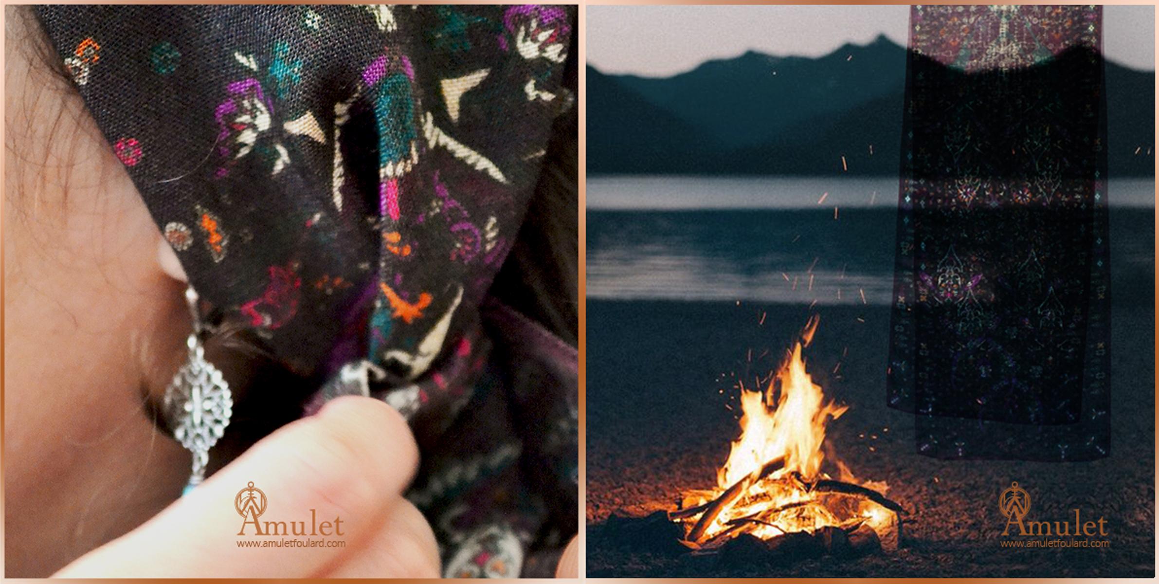 amulet-foulard-etole-akna-autumn-impression-automne-atmosphere-vent-feu-de-camp-fire-wind-mood-laine-soie-knot-style-scarf